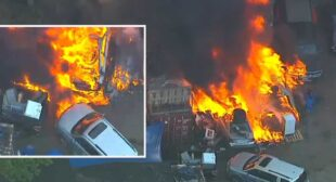 Multiple vehicles go up in flames at business in North Bergen, New Jersey – ABC7 New York
