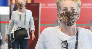 Sharon Stone sports a cozy cable knit sweater and jeans at the airport in New York | Daily Mail Online